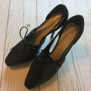 VIA SPIGA Black Leather Heels with Ties 7.5M EUC